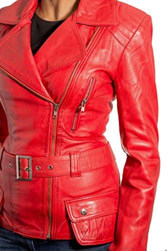 Chaqueta para mujer de piel de cordero rojo largo del motorista. cremallera lateral. Estilo retro.