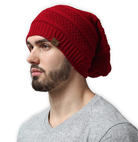 Tough Headwear Slouchy Cable Knit Beanie by Chunky, Oversized Slouch Beanie Hats for Men & Women - Stay Warm & Stylish - Serious Beanies for Serious Style (Slouch Red Hat Ladies)