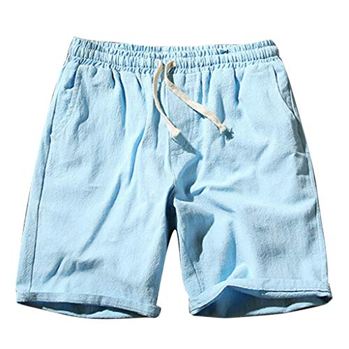 (Ninasill Hot!Men's Solid Color Straight Surfing Beach Shorts Large Size Tethered Sports Shorts Summer Tooling Pants Sky Blue)