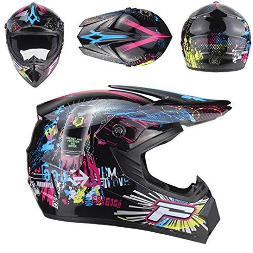 - ShenZhiWing Adult Motorcycle Motocross Off Road Helmet Dirt Bike Downhill MTB Racing Helmet Black 6 M