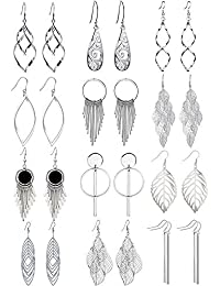 12 Pairs Drop Dangle Earrings Water Drop Fashion Jewelry Vintage Statement Boho Bohemian Earrings Set for Women Gift