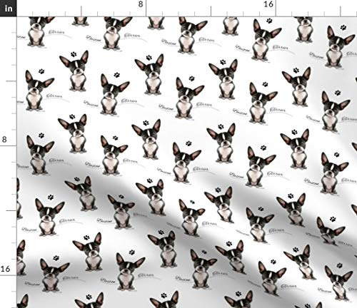 Spoonflower Boston Terrier Fabric - Boston Dog Pet Animal Boston Terrier Dog Pup Pet Catia Cho by Catialee Printed on Linen Cotton Canvas Ultra Fabric by The Yard ()