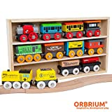 wooden train cars - Orbrium Toys 12 Pcs Wooden Engines & Train Cars Collection Compatible with Thomas Wooden Railway, Brio, Chuggington