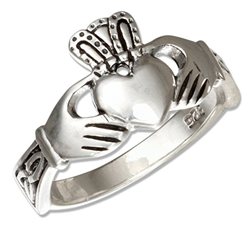 Sterling Silver Irish Claddagh Ring with Celtic Trinity Knot Cuffs (size 07) - Mens Celtic Claddagh Ring