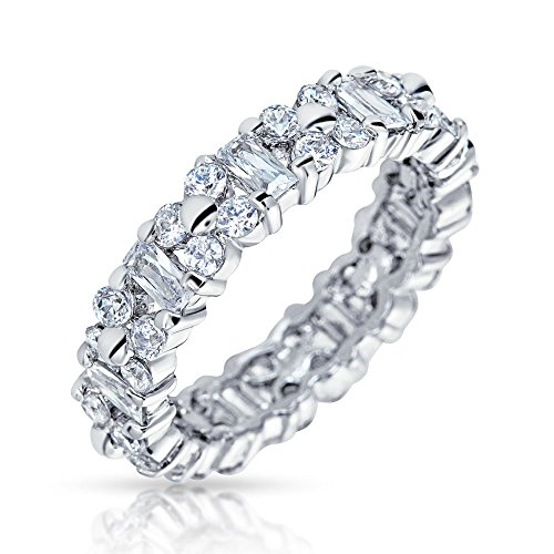 Bling Jewelry Vintage Style Sterling Silver CZ Eternity Wedding Band Ring,8 by Bling Jewelry