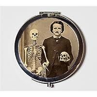 Edgar Allan Poe Compact Mirror Skeleton Medical Oddity Goth Author Altered Art Make Up Pocket Mirror for Cosmetics
