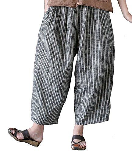 Aeneontrue Women's Casual Linen Crop Striped Pants Trousers (One Size(4-12), Gray)