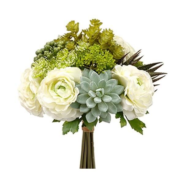 12″ Hydrangea & Succulent Silk Flower Garden Bouquet -Green/Gray (Pack of 6)