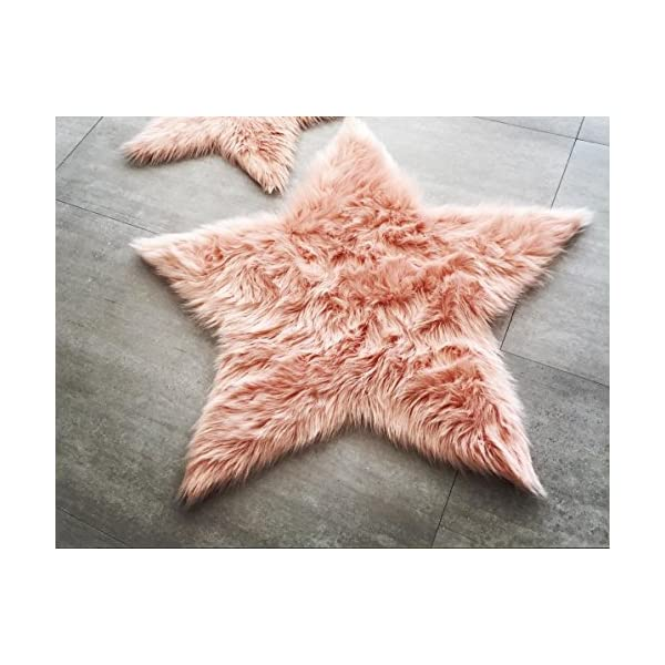 Machine Washable Faux Sheepskin Blush Star Area Rug 3′ x 3′ – Soft and silky – Perfect for baby's room, nursery, playroom (Star Large Blush)