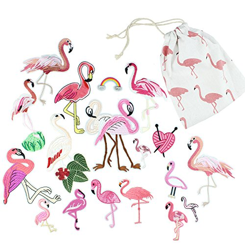 Pink Flamingo Applique Patches Sew on / Iron on Patches For Jeans, Clothes, Jackets, Dress, Hats - 18 pcs Assorted DIY Embroidery Patches Stickers Kit For Decoration - with Flamingo Storage Bag