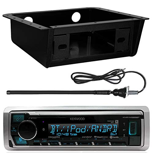(Kenwood Marine Digital Media Receiver w/Bluetooth, Metra 99-9000 Universal Fully Encloses Under Dash Installation Kit, EnrockMarine 20B Rubber Boat Yacht Outdoor AM/FM Radio Antenna (Black))