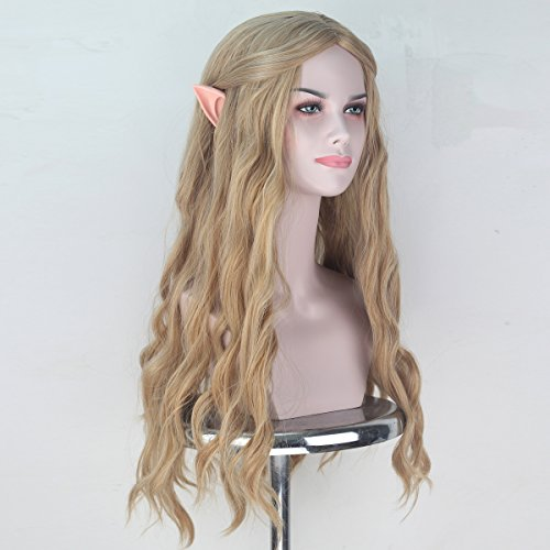 Women Long Wavy Ash Blonde Hair Women Party Cosplay Costume Halloween Wig with Elf Ears - http://coolthings.us