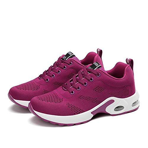 Blanc Air Sneakers 4cm 35 Femmes 5 42 Noir Lacets Uk2 Rouge Running Rose Pour Chaussures uk8 Violet De Sport xYqO77pX
