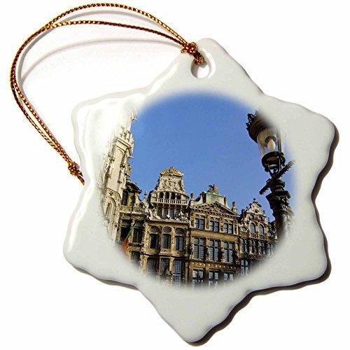 rfy9u7 3-Inch Porcelain Snowflake Decorative Hanging Ornament, Belgium, Brussels, Grand Place, Guild Houses EU Jen Jim Engelbrecht Brussels Grand Places House