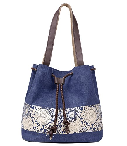 Hiigoo Printing Canvas Shoulder Bag Retro Casual Handbags Messenger Bags (Dark Blue)