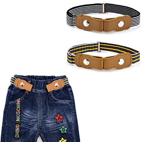 BiBest No Buckle Kids Elastic Free Belts for Toddlers, Pack of 2 Adjustable Stretch Belts for Boys and Girls -