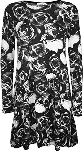 New Womens Long Sleeve Printed Swing Dress Plus Size Hanky Hem Dress M US8-10 Skull Rose