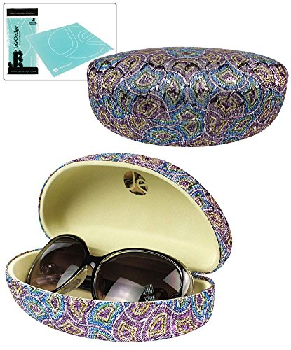 JAVOedge Blue and Purple Scale Pattern Fabric Clamshell Style Eyeglass / Sunglasses Case