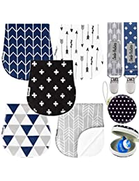 Baby Burp Cloths Pack of 5 by Dodo Babies + 2 Pacifier Clips + Pacifier Case Premium Quality Unisex Boy or Girls Soft and Absorbent, Excellent Baby Shower/Registry Gift