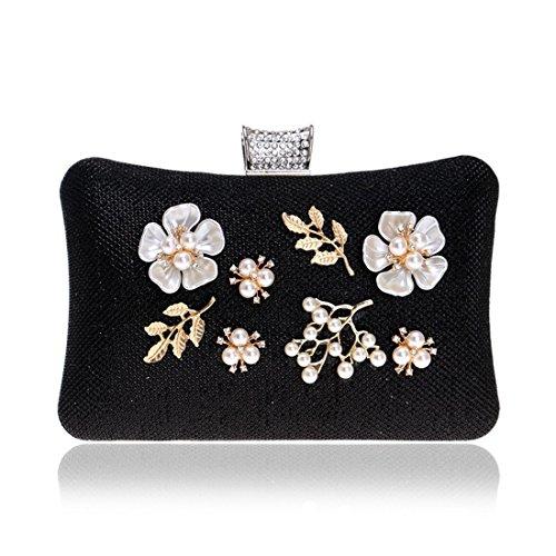 Clutch Bag Night Pollusui Shoulder Banquet Ladies FlowerscoloreOroNero g6vIYfyb7
