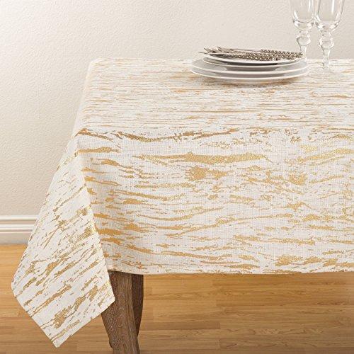 Fennco Styles Distressed Metallic Foil Design Cotton Table Topper Tablecloth (54