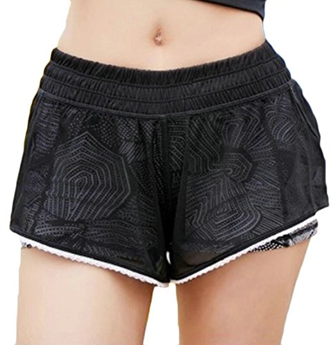 Generic Womens Casual Gym Running Shorts Fitness Workout Training Yoga Shorts Black L by GenericWomen