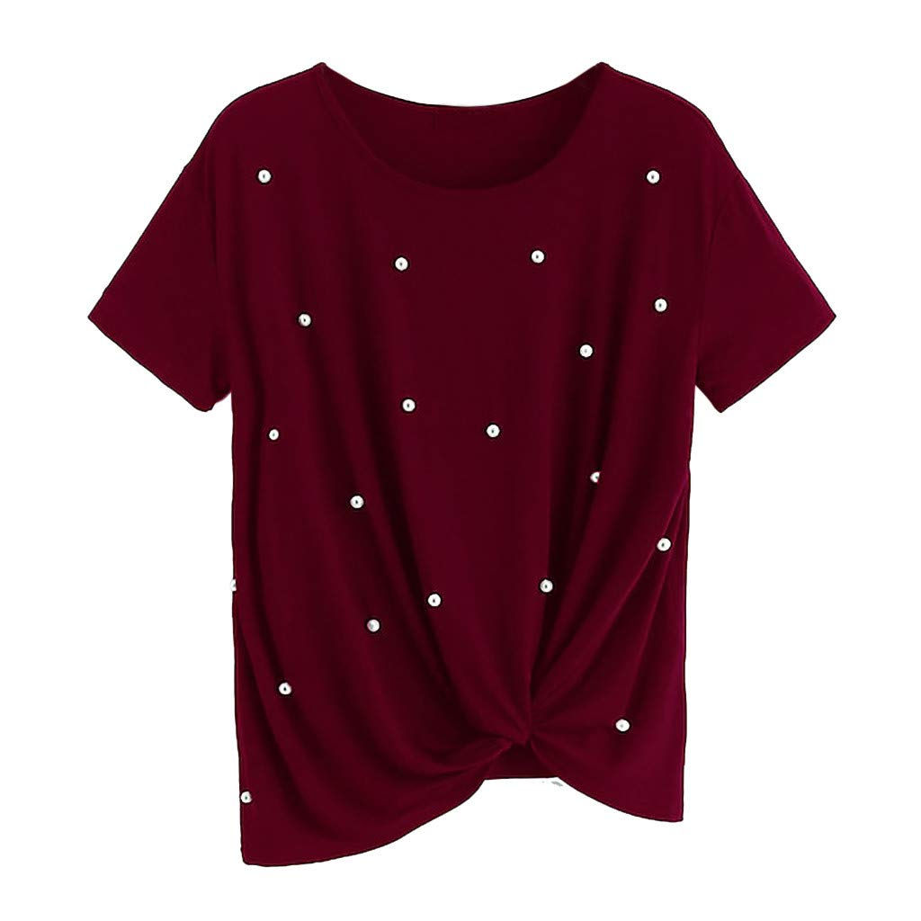 Keliay Womens Tops for Summer,Fashion Women Short Sleeve O-Neck Pearl Embellished Tee Tie T-Shirt Tops Wine