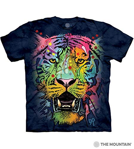 The Mountain Russo Tiger Face Adult T-Shirt, Blue, Medium
