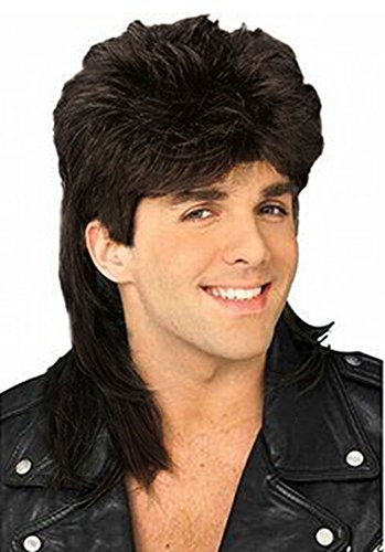 Diy-Wig Stylish Men Retro 70s 80s Disco Mullet Wig Fancy Men's Party Halloween Wig Accessory Cosplay Full Wig (Black) -