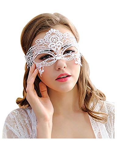 White Masquerade Mask (Vantoo Venetian Masquerade Mask Sexy Women Lace Mask for Halloween Costume Party Ball Prom Cat Eye Mask (White-2))