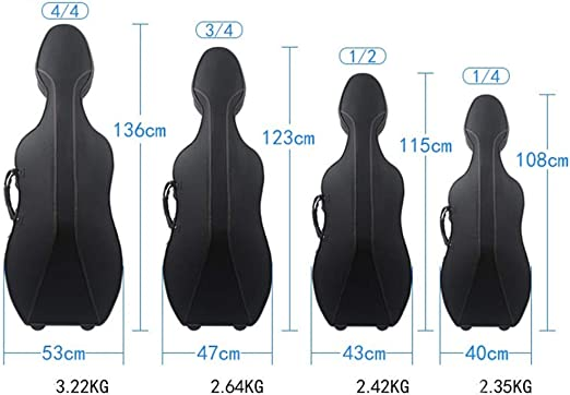 BGROEST Estuche de Violonchelo de Tamaño Completo para EST Caso Cello de Peso Ligero con la
