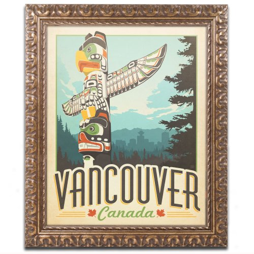 Trademark Fine Art Vancouver Canada Canvas Artwork by Anderson Design Group, 11 by 14-Inch, Gold Ornate Frame