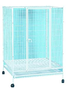 YML 35-Inch Small Animal Cage with Wire Bottom Grate and Plastic Tray, White