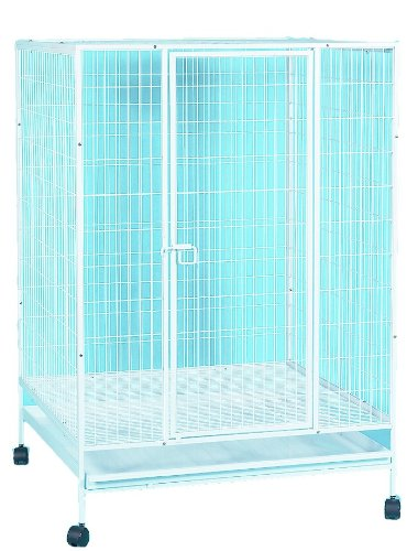 YML 35-Inch Small Animal Cage with Wire Bottom Grate and Plastic Tray, White by YML