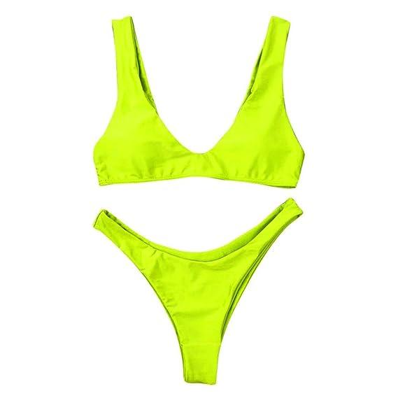 Bikinis Mujer Conjuntos Traje de Baño Acolchado Padded Bra Monokini Push-up Beachwear Set Tamaño Más dnBkzgOXpq