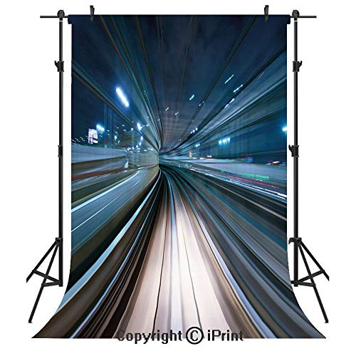 Monorail Drop - Modern Photography Backdrops,Motion Blur of City and Tunnel Moving Monorail in Tokyo Futuristic Transportation,Birthday Party Seamless Photo Studio Booth Background Banner 3x5ft,Dark Blue Tan