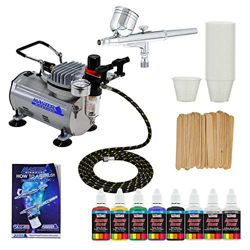 Complete Multi-Purpose Airbrush Kit with G22 Airbrush, Master Compressor TC-20, Air Hose & 6 Primary US Art Supply Paint Colors, Airbrush Reducer & Cleaner ()