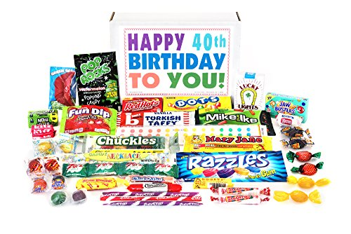 (Woodstock Candy Happy 40th Birthday to You for 40 Year Old Man or Woman - Classic Retro Candy Assortment Gift Box Jr)