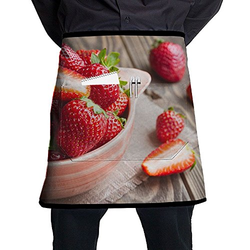 (XiHuan Grill Aprons Kitchen Chef Bib Fresh Strawberries In A Bowl On Wooden Table With Low Key Scene Professional For BBQ Baking Cooking For Men Women Pockets)