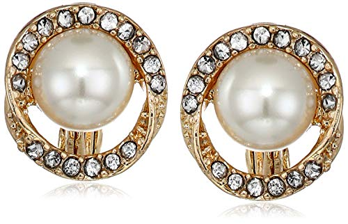 Anne Klein Women's Gold/Pearl/Crystal Pave Halo Twist Button Ez Comfort Clip Earrings, Pearl Crystal Gold Button Earrings