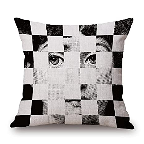 Da Young Funny Piero Fornasetti Decoration Pattern Polyester Plush Cloth Square Throw Pillowcase Cushion Cover Shell With Invisible Zipper Closure 18 X 18 Inches, 45 X 45 Cm, Two Side Printing by Da Young
