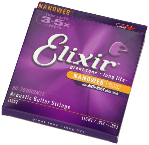 elixir strings 80 20 bronze acoustic guitar strings w nanoweb coating light 012 053 buy. Black Bedroom Furniture Sets. Home Design Ideas