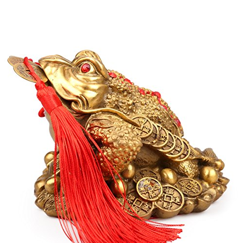 Frog Lucky - Traditional chinese Brass Feng Shui Money Frog (Three Legged Wealth Frog or Money Toad) Statue + Set of 5 Lucky Charm Ancient Coins on Red String,Feng Shui Decor