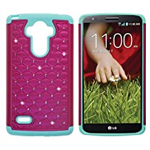 LG G Stylo Case, LG LS770 Case, LG G4 Stylus Case, KAMII Dual Layer Studded Rhinestone Crystal Bling Hybrid Armor Defender Diamond Case Cover for LG G4 Stylus /LG LS770 / LG G Stylo (Rose+Aqua)