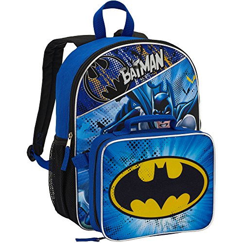 DC Comics Batman Backpack with Lunchbox Set for Boys Kids ~ Deluxe 16