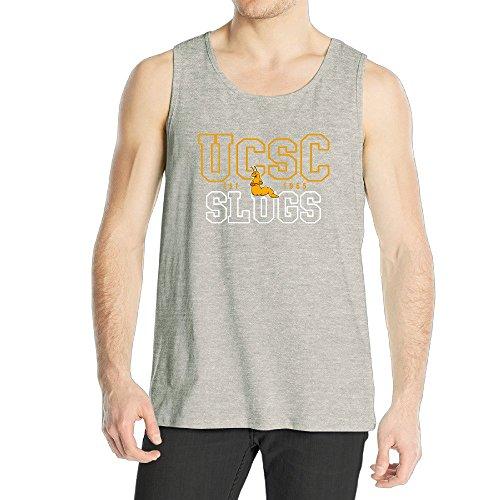 Men's Uc Santa Cruz Banana Slugs UCSC Teams Logo Tank Top Ash