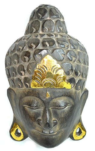 Vintage Style Large Gold Buddha Head Wood Wall Art Mask Plaque Carving ()