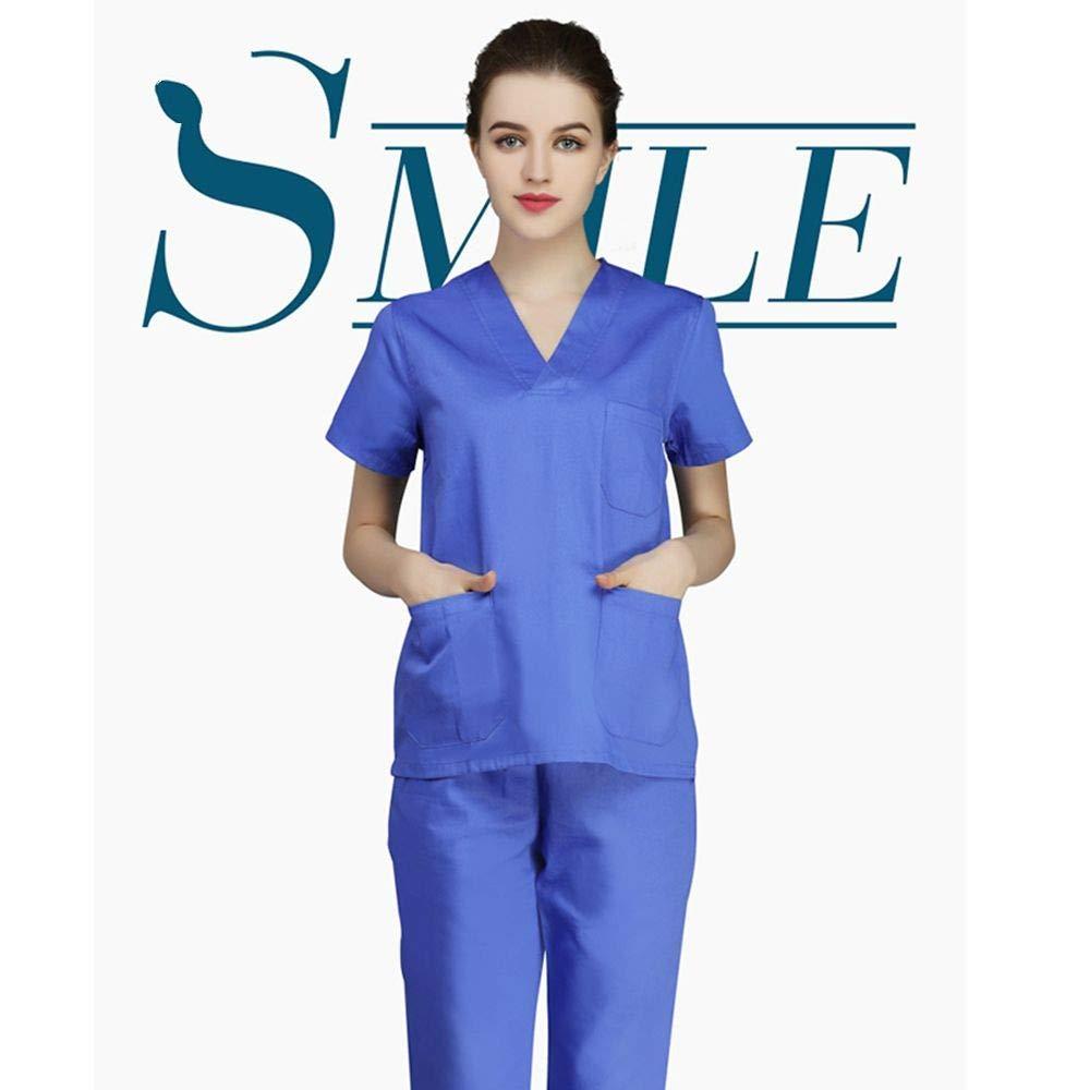 OPPP Ropa médica Mujer Enfermera Traje Ropa quirúrgica Ropa de Hospital Hospital salón de Belleza médico Enfermera Uniforme Camisa + Pantalones: Amazon.es: ...
