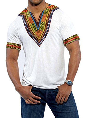 Huiyuzhi Men's African Print Dashiki T-Shirt Tops,White,Large