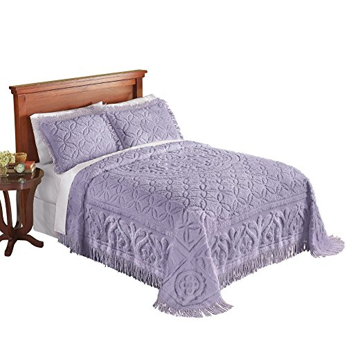 Vintage Chenille - Victoria Plush Chenille Ring-Style Fringe Lightweight Bedspread, Lavender, Twin